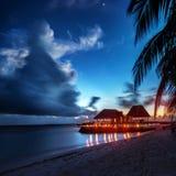 Paradise beach at night Stock Photo