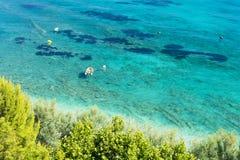 Paradise beach in Orebic in Peljesac peninsula in Dalmatia, Croatia Royalty Free Stock Photos