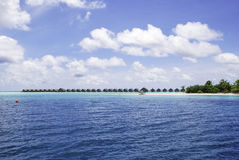 Paradise Beach Resort. Maldives Water Villa area on a small island Royalty Free Stock Images