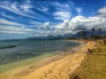 Paradise Beach. Blue sky wispy clouds tropical beach Royalty Free Stock Photo