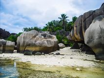 Paradise - Beach - Seychelles - La Digue - Rockformation - Anse Source d´Argent royalty free stock images