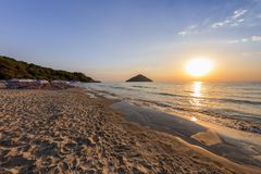 Paradise beach at sunrise. Greece. Paradise beach at sunrise. Thassos island Greece Royalty Free Stock Photos