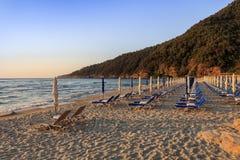 Paradise beach at sunrise. Greece Stock Photos