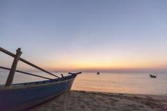 Paradise beach sunset tropical palm trees Stock Image