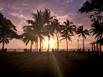 Paradise beach. Sunset at Waikiki in Hawaii stock photos