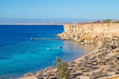 Paradise Beach top view on the sharm el sheikh resort.  Stock Photo
