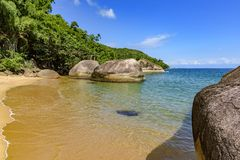 Paradisiac beach with transparent waters surrounded by tropical rainforest. Paradise beach, totally preserved and deserted surrounded by tropical rainforest with royalty free stock photo