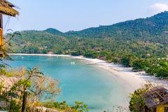 Paradise beach with turquoise water. Thong Nai Pan Yai, Koh Pangan, Thailand, April , 2016, View over a paradise beach with turquoise water Royalty Free Stock Photos