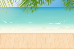 Paradise beach ,waves and wooden decking Stock Photos