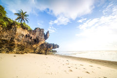 Paradise beach with white sand and palms. Kenya Stock Photo