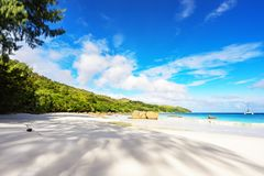 Paradise beach.White sand,turquoise water,palm trees at tropical. Amazing beautiful paradise beach.White sand,turquoise water,palm trees at tropical beach anse Stock Photography