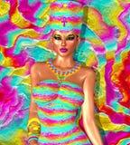Paradise Calling. Egyptian queen fantasy art. Cleopatra, Nefertiti and more. royalty free illustration