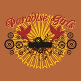 Paradise car. Holiday birds and flowers, consisting of basic graphic car royalty free illustration