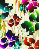 Paradise city. Tropical exotic florals with zebra background details Stock Photos