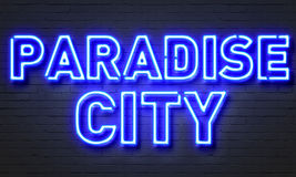 Paradise city neon sign Stock Photo