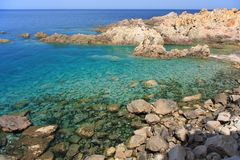 Paradise Coast. In north Sardinia with emerald water and granite rocks Stock Image