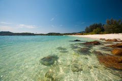 Paradise Crystal Clear Water Rocky Beach Royalty Free Stock Photos