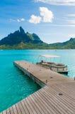 Paradise deck. Vertical shot of a deck in Bora bora, Tahiti Royalty Free Stock Photo