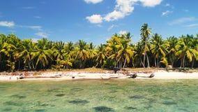 Paradise-eiland in het Cara?bische overzees Panorama van tropisch exotisch wild strand stock footage