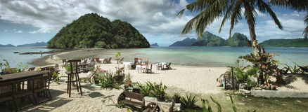 Paradise. El Nido, Palavan, Phillippines relax in cafe Stock Images