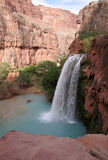 Paradise Falls. A sideview of the havasu waterfall within the grand canyon Stock Photo
