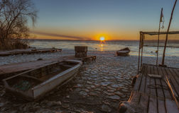 Paradise for fishermen. At Dnipro river. Morning at Kamenskoe city. Ukraine royalty free stock photography