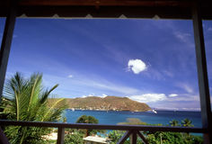 Paradise Framed. View of the beautiful Southern Grenadines from a villa royalty free stock photography