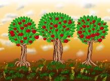 Paradise garden. Paradise apple trees garden, illustration vector illustration