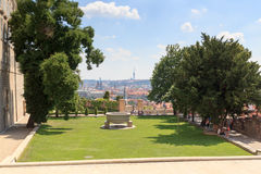 Paradise garden at Prague Castle south side and Prague cityscape Royalty Free Stock Image