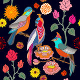 Paradise garden. Silk scarf pattern with flowers, leaves and fantasy birds. royalty free illustration