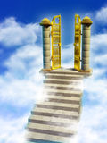 Paradise gates. Marble stairs and golden gates lead you to Paradise. Digital illustration royalty free illustration