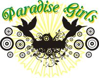 Paradise girls. Consisting of birds and flowers, holiday-themed graphic print trolley royalty free illustration
