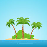 Paradise in Hawaii. Tropical island in the sea with palms and bush. Place to spend a vacation away from civilization. Stock Photo
