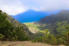 Paradise on Hawaiian islands. Amazing view of Hawaiian island Kauai and ocen on sunny beautiful day Stock Photography