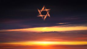 Light from sky . Religion background . Paradise heaven . Red sunset and moon . Ramadan background . Half moon and star . Beautiful star . Sunset and new moon royalty free stock images