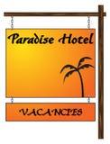 Paradise Hotel Vacancies Hanging Sign Stock Photography