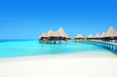 Paradise hotel. Paradise Water villas in the turquoise water of the Indian ocean Stock Photography