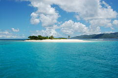 Paradise island. Deserted fine white sand island with single palm tree.  Sandy Spit.  British Virgin Islands Stock Photo