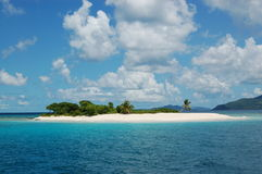 Paradise Island. Fine white sand, palm trees and turquoise waters.  Sandy Spit.  British Virgin Islands Stock Photo