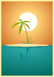 Paradise Island. Illustration of a beautiful tropical island to go for your vacations Stock Photo