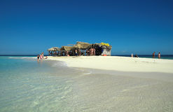 Paradise island. Beach huts at paradise island Stock Images