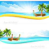 Paradise Island backgrounds. Paradise Island with palm trees and boats. Vector banner Stock Photo