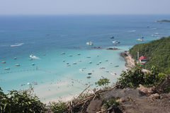 Paradise Island With Blue Sea In High Angle View. At ko Lan Pattaya Thailand Stock Images