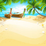 Paradise island. With boats and palm trees. Vector illustration Stock Photo
