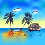 Paradise island with bungalow palm tree. Paradise island with bungalow,  palm tree and hammock. Trip background with blue sea and yaht on horizon Stock Photos