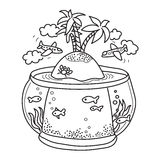 Paradise island in fish tank. Freehand drawing - paradise island in fish tank, flying airplanes - concept of dream about vacations. Outline drawing good for Stock Image