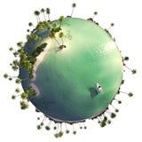 Paradise island globe Royalty Free Stock Image