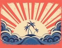 Paradise island on grunge paper Stock Images