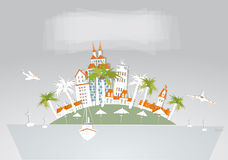 Paradise island, holiday hotel travel background White city collection Stock Image