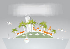 Paradise island, holiday hotel travel background White city collection Royalty Free Stock Photography